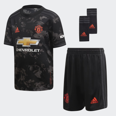 Mini kit Manchester United Third Noir Enfants Football