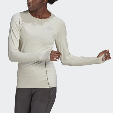 T-shirt Runner Long Sleeve beige Femmes Course
