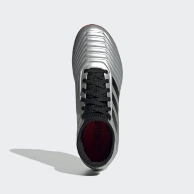 Calzado de Fútbol Predator 19.3 Terreno Firme (UNISEX) Plata Niño Fútbol