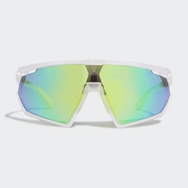 SP0001 Shiny Black Injected Sport Solbriller Hvit