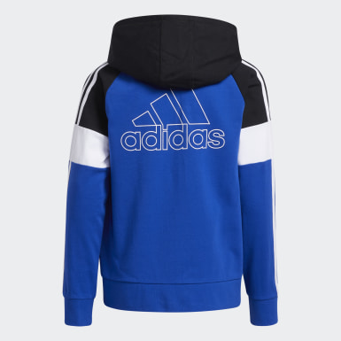 Children Training Blue Colorblock French Terry Hooded Jacket