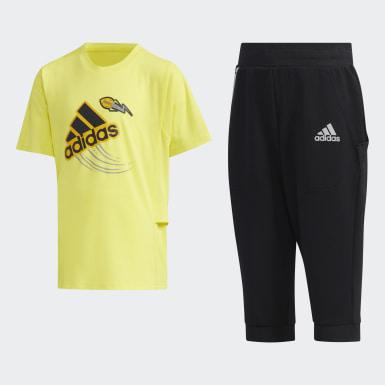 เด็กผู้ชาย เทรนนิง สีเหลือง ชุดเสื้อยืดและกางเกงขายาว