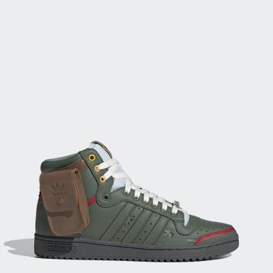 Top Ten Hi Star Wars   Sapatos Boba Fett Verde Homem Originals