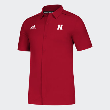 Men's Athletics Multicolor Cornhuskers Full Button Polo Shirt