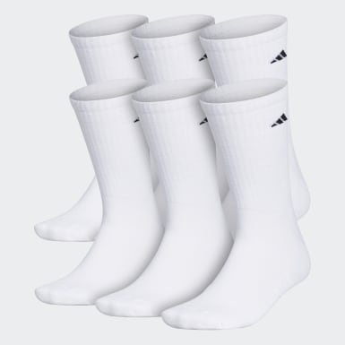 Men's Training White Athletic Cushioned Crew Socks 6 Pairs XL