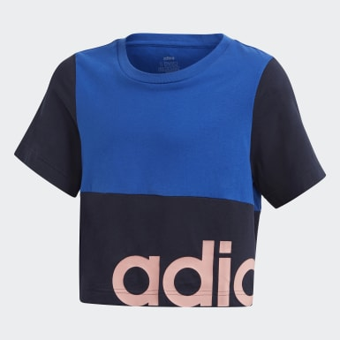Girls Athletics Blå Linear Colourblock T-shirt