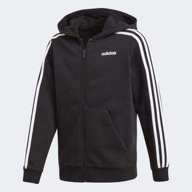 Boys Training Black Essentials 3-Stripes Hoodie