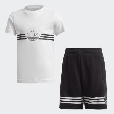 Outline Tee and Shorts Sett Hvit