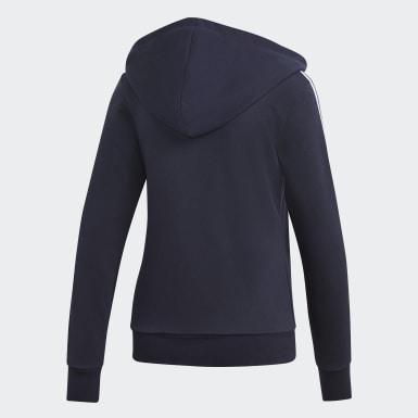 Frauen Athletics Essentials 3-Streifen Kapuzenjacke Blau