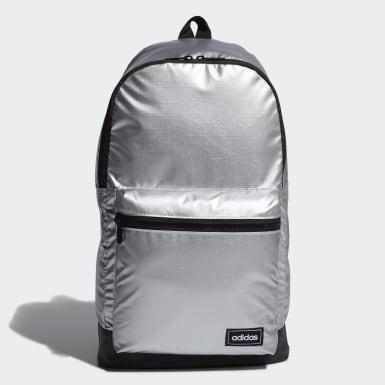 Women Sport Inspired Silver Classic Metallic Backpack Medium