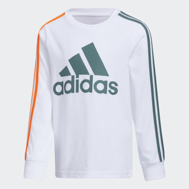 Children Training White Badge of Sport Stripe Tee