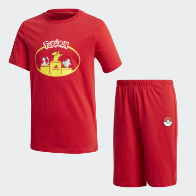 Boys Sport Inspired Red Pokémon Short Sleeve Set