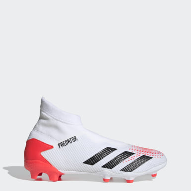 Football White Predator 20.3 Laceless Firm Ground Boots