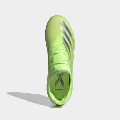 Bota de fútbol X Ghosted.1 césped natural seco Verde Niño Fútbol