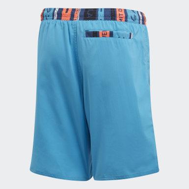 Boys Swimming Turquoise Colorblock Swim Shorts
