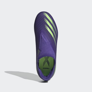 Kinderen Voetbal Paars X Ghosted.3 Laceless Firm Ground Voetbalschoenen
