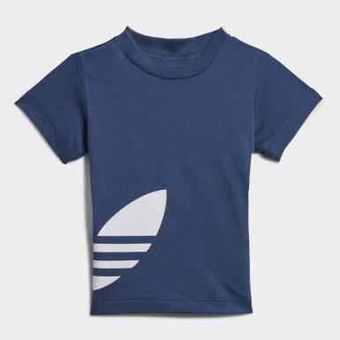 Kinderen Originals blauw Big Trefoil Short en T-shirt Set