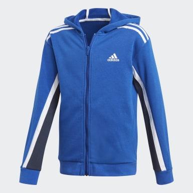 Boys Træning Blå Bold Full-Zip hættetrøje