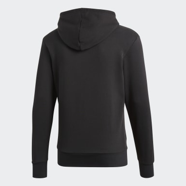 Men Lifestyle Black Essentials Linear Pullover Hoodie