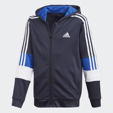 Boys Træning Blå Must Haves AEROREADY 3-Stripes Full-Zip hættetrøje