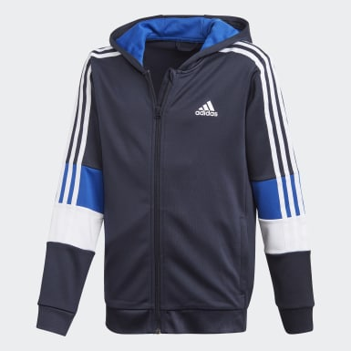 Boys Träning Blå Must Haves AEROREADY 3-Stripes Full-Zip Hoodie