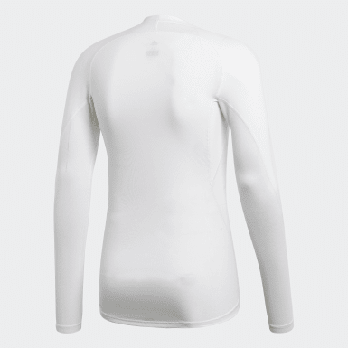 Men Cycling White Alphaskin Sport Long-Sleeve Top