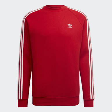 Men Originals Red 3-Stripes Crewneck Sweatshirt