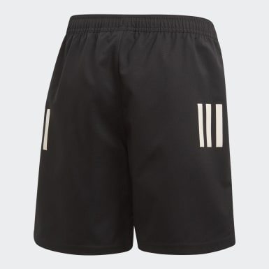 Boys Rugby Black 3-Stripes Shorts