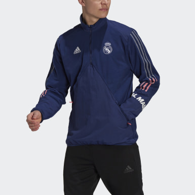 Men Football Blue Real Madrid Travel Fleece Top