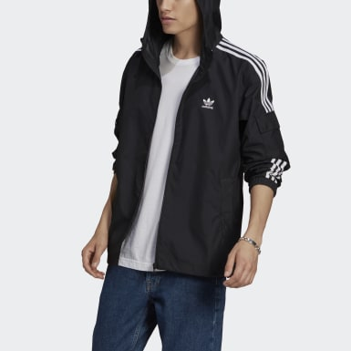 Men Originals Black Adicolor Classics 3-Stripes Full-Zip Windbreaker