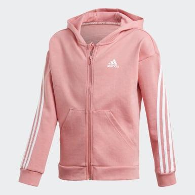 Girls Træning Pink 3-Stripes Full-Zip hættetrøje
