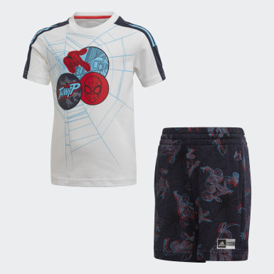 Boys Training White Spider-Man Summer Set