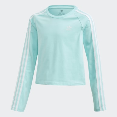 Youth 8-16 Years Originals Blue 3-Stripes Cropped Long-Sleeve Top