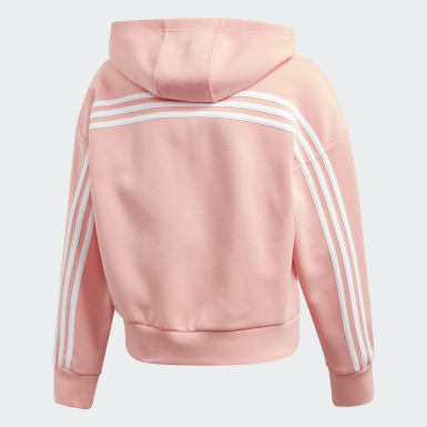 Sudadera con Gorro Must Haves 3 Franjas Rosa Niño Training