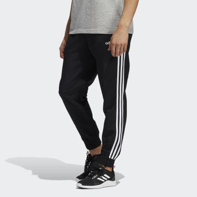 Men's Essentials Black 3-Stripes Woven Joggers