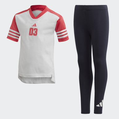 Girls Athletics White Tee and Tights Set
