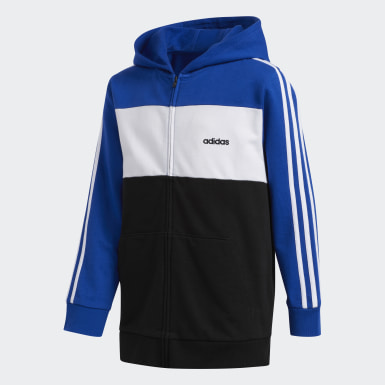Youth Training Blue Hooded Jacket