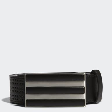 Men Golf Black 3-Stripes Punch-Hole Belt
