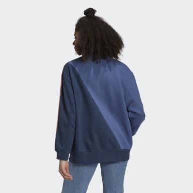 Frauen Originals adicolor Sliced Trefoil Sweatshirt Blau