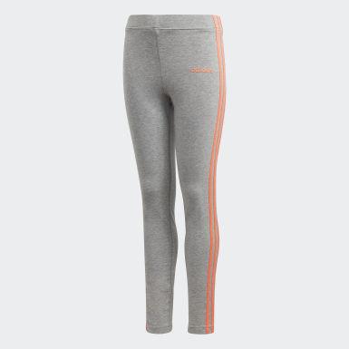 Youth 8-16 Years Training Grey Essentials 3-Stripes Leggings