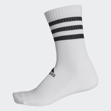 3-Stripes Cushioned Crew Socks Bialy