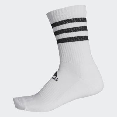 Meias de Cano Médio Acolchoadas 3-Stripes Branco Treino