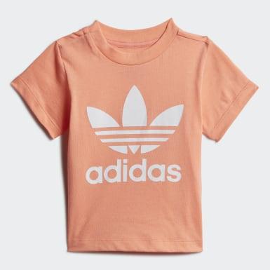 เด็ก Originals สีส้ม ชุดเสื้อและกางเกง Trefoil