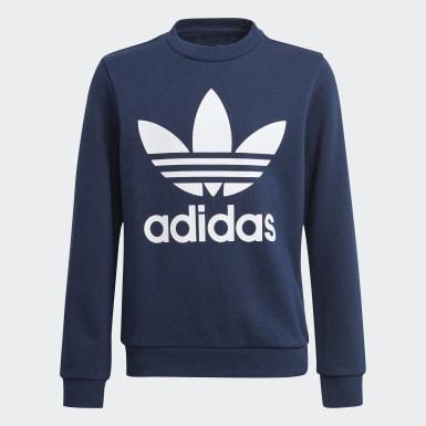 Sweatshirt Trefoil Crew Azul Criança Originals