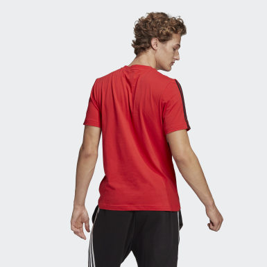 Men Athletics Red Essentials Logo Colorblock Tee