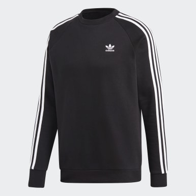 Men's Originals Black 3-Stripes Crewneck Sweatshirt