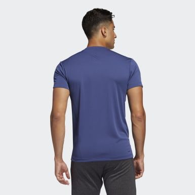 Men Studio Blue AEROREADY 3-Stripes Tee