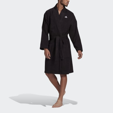 Swimming Black Cotton Bathrobe