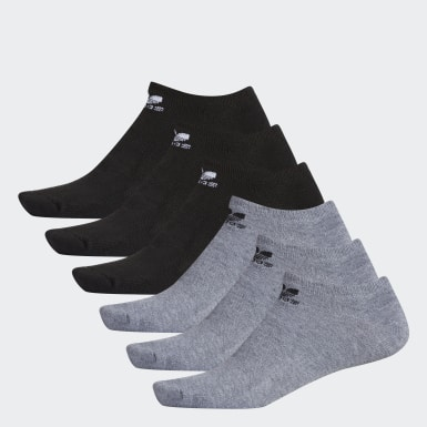 Men's Originals Grey Trefoil Ankle Socks 6 Pairs