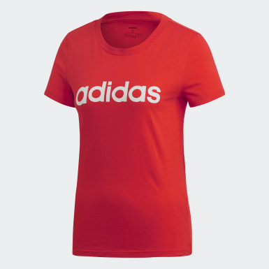 Women Athletics Red Essentials Linear Tee